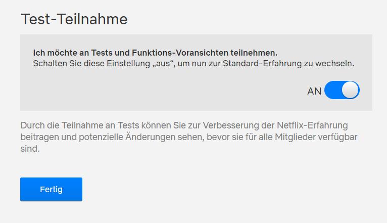 Netflix Testteilnahme ausschalten