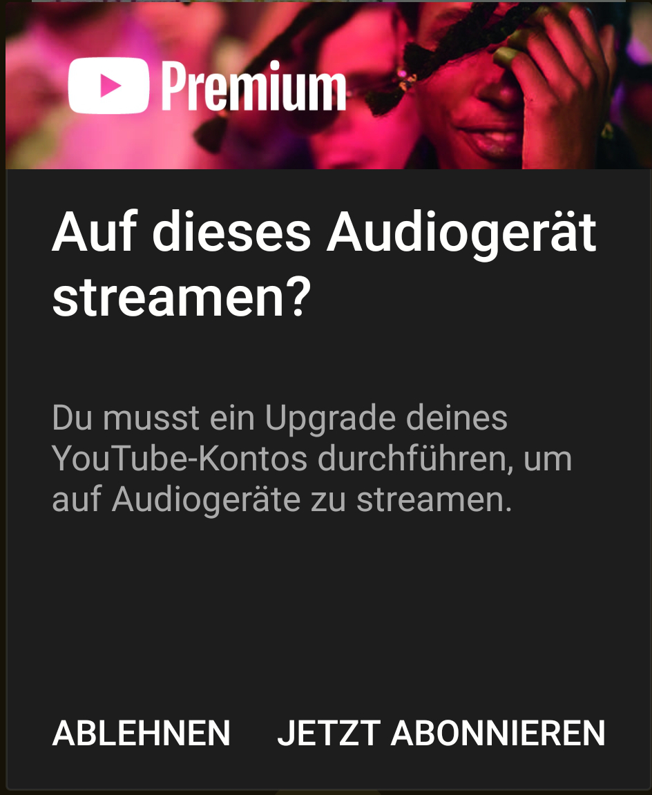 YouTube Music Android App Premium Pop Up
